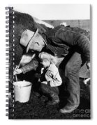 Man Milking Cow Spiral Notebook