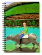Man Riding A Carabao Spiral Notebook