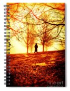 Man Standing In Front Of A Blazing Forest Fire Spiral Notebook