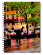 Reflections - New York City In The Rain Spiral Notebook