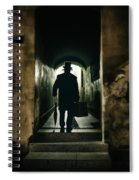 Back View Of A Victorian Man Wearing Top Hat And Long Coat In The Alley Spiral Notebook