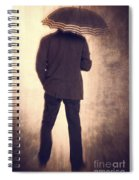 Man With Vintage Umbrella Spiral Notebook
