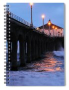 Manhattan Beach Pier Crashing Surf Spiral Notebook
