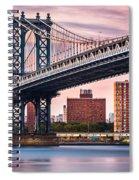 Manhattan Bridge Under A Purple Sunset Spiral Notebook