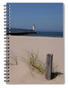 Manistee Harbor Lighthouse From Beach Spiral Notebook