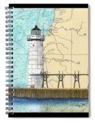 Manistee N Pierhead Lighthouse Mi Nautical Chart Map Art Spiral Notebook