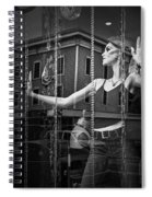 Mannequin In Storefront Shop Window In Black And White Spiral Notebook