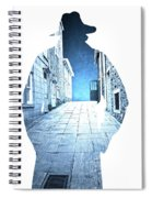 Man's Profile Silhouette With Old City Streets Spiral Notebook