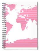 Map In Pink Stripes Spiral Notebook