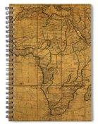 Map Of Africa Circa 1829 On Worn Canvas Spiral Notebook