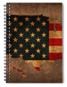 Map Of America United States Usa With Flag Art On Distressed Worn Canvas Spiral Notebook