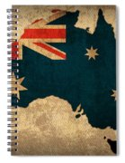 Map Of Australia With Flag Art On Distressed Worn Canvas Spiral Notebook