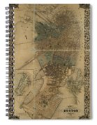 Map Of Boston 1852 Spiral Notebook