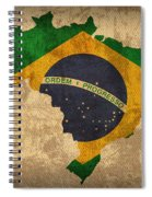 Map Of Brazil With Flag Art On Distressed Worn Canvas Spiral Notebook