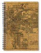 Map Of Denver Colorado City Street Railroad Schematic Cartography Circa 1903 On Worn Canvas Spiral Notebook