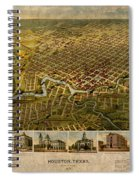 Map Of Houston Texas Circa 1891 On Worn Distressed Canvas Spiral Notebook