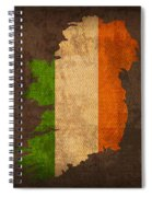 Map Of Ireland With Flag Art On Distressed Worn Canvas Spiral Notebook