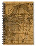 Map Of Kansas City Missouri Vintage Old Street Cartography On Worn Distressed Canvas Spiral Notebook
