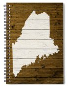 Map Of Maine State Outline White Distressed Paint On Reclaimed Wood Planks. Spiral Notebook