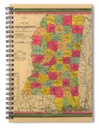 Map Of Mississippi 1850 Spiral Notebook