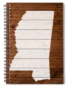 Map Of Mississippi State Outline White Distressed Paint On Reclaimed Wood Planks. Spiral Notebook
