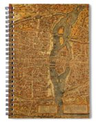 Map Of Paris France Circa 1550 On Worn Canvas Spiral Notebook