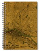 Map Of Portland Oregon City Street Schematic Cartography Circa 1924 On Worn Parchment  Spiral Notebook