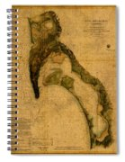 Map Of San Diego Bay California Circa 1857 On Worn Distressed Canvas Parchment Spiral Notebook