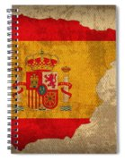 Map Of Spain With Flag Art On Distressed Worn Canvas Spiral Notebook