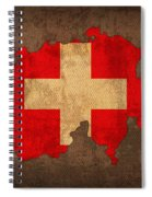 Map Of Switzerland With Flag Art On Distressed Worn Canvas Spiral Notebook