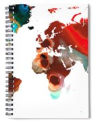 Map Of The World 5 -colorful Abstract Art Spiral Notebook