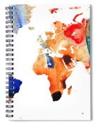 Map Of The World 8 -colorful Abstract Art Spiral Notebook