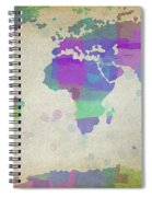 Map Of The World - Plaid Watercolor Splatter Spiral Notebook