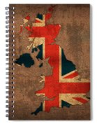 Map Of United Kingdom With Flag Art On Distressed Worn Canvas Spiral Notebook