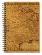 Map Of United States Of America Vintage Schematic Cartography Circa 1855 On Worn Parchment  Spiral Notebook
