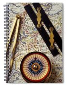 Map With Compass Tools Spiral Notebook