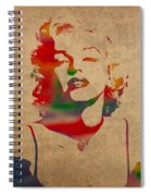 Marilyn Monroe Watercolor Portrait On Worn Distressed Canvas Spiral Notebook