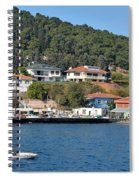 Marina Bay Scene With Boat And Houses On Hills Spiral Notebook