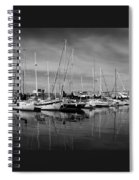 Marina Boats In Victoria British Columbia Black And White Spiral Notebook