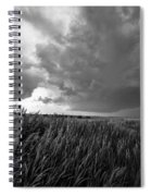 Marker - Black And White Photo Of Stone Marker And Brewing Storm In Kansas Spiral Notebook