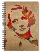 Marlene Dietrich Movie Star Watercolor Painting On Worn Canvas Spiral Notebook