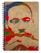 Martin Luther King Jr Watercolor Portrait On Worn Distressed Canvas Spiral Notebook