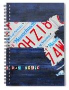 Massachusetts License Plate Map Spiral Notebook