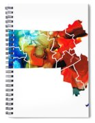 Massachusetts - Map Counties By Sharon Cummings Spiral Notebook