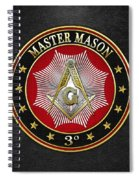 Master Mason - 3rd Degree Square And Compasses Jewel On Black Leather Spiral Notebook