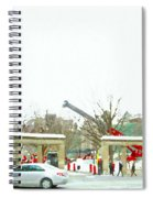 Mcgill Campus Student Cycles By Roddick Gates Sherbrooke St Montreal Winter Scene Carole Spandau  Spiral Notebook