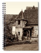 Medieval Cottage In Sarlat Sepia Spiral Notebook