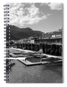 Merchants Wharf In Black And White Spiral Notebook