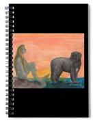 Mermaid Newfoundland Dog Sunset Cathy Peek Art Spiral Notebook