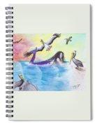 Mermaid Pelicans Surf Beach Cathy Peek Art Spiral Notebook